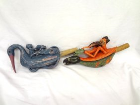(2) Pacific Northwest Painted Indian Rattles Wooden,