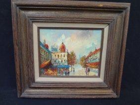 Gaston Kuhne Original Oil On Canvas European Street