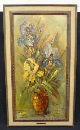 """Leo Ritter """"still Life Irises In Vase"""" Original Oil On"""