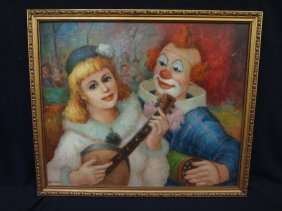 "Szarka Original Oil On Board ""clown And Child"""