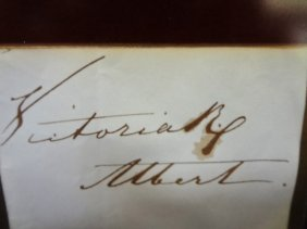 Queen Victoria And Prince Albert Cut Signature Together