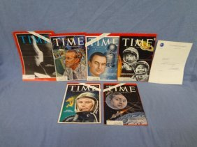 (8) Space Astronauts Autographed Time Magazine Covers