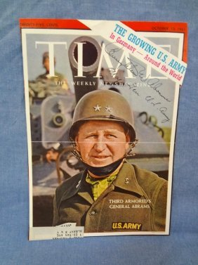 Creighton W. Abrams Autographed Time Magazine Cover Loa