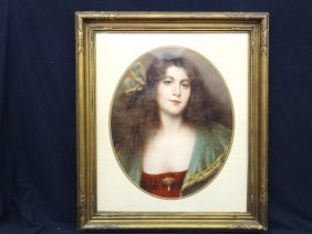 Mezzotint Portrait Of Young Woman Set In Oval Matting,