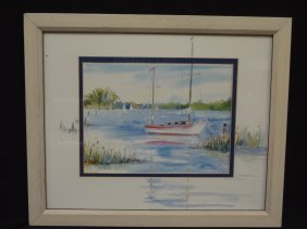 """Sarah Malin """"becalmed"""" Lithograph. Matted And Framed"""