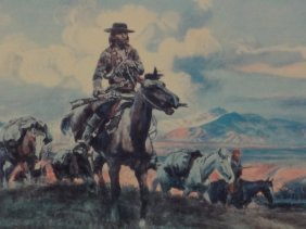 Charles M. Russell Large Matted And Framed Lithograph