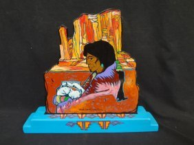 Amado Pena Hand Painted Wooden Sculpture Signed On