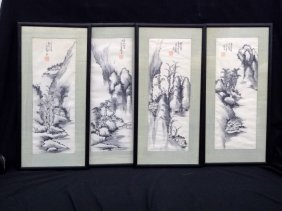 (4) Original Japanese Watercolors Framed And Signed