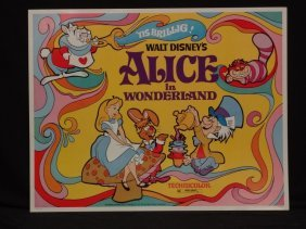 "Disney's ""alice In Wonderland"" 1974 Lithograph Movie"