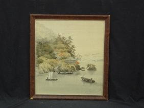 Silkscreen On Silk, Unknown Artist Countryside Boats In
