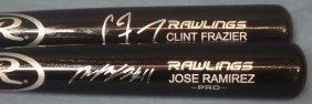 Jose Ramirez & Clint Frazier Single Signed Bats