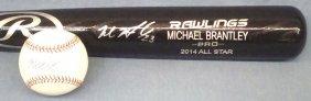 Michael Brantley Autographed Rawlings Bat And Baseball
