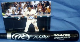 Cleveland Indians Jose Ramirez Autographed Bat And 8x10