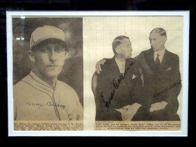 Connie Mack, Eddie Collins, Max Bishop Signed Newspaper