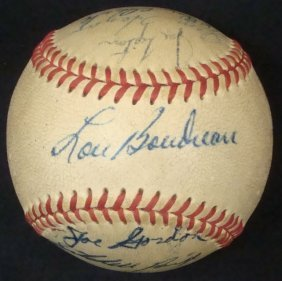 1948 World Series Cleveland Indians Partial Signed Oal