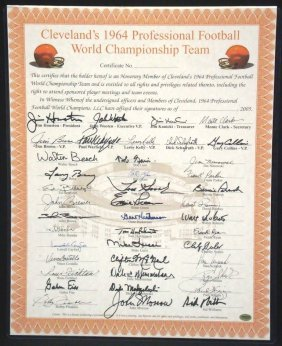 1964 Cleveland Browns World Champions Team Signed