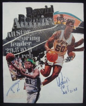 1995 Tim Duncan And David Robinson Dual Signed Mixed