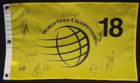 World Golf Championships Multi-signed Pin Flag, (12)