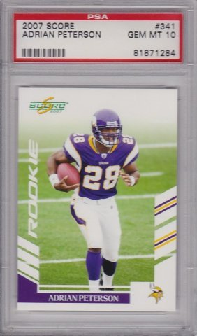 2007 Score #341 Adrian Peterson Rookie Card, Psa Gem
