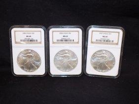 (3) American Silver Eagles .999 Silver 2005, 2006, 2007