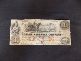 1853 $1 Obsolete Bank-note Adrian Insurance Company