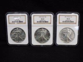 (3) American Silver Eagles .999 Silver 1989, 1990, 1991