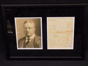 President Theodore Roosevelt Signed White House Letter