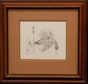 Golden Retriever With Mallard Print By James Fisher