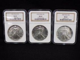 (3) American Silver Eagles .999 Silver 1992, 1993, 1994
