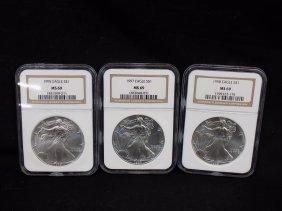(3) American Silver Eagles .999 Silver 1995, 1997, 1998