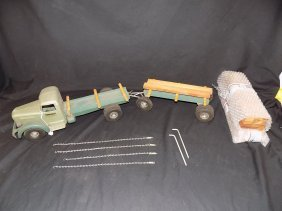 Smith-miller Single Axle Lumber Truck W/pup Trailer