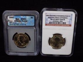 Errors 2007 George Washington $1 & John Adams $1 Both