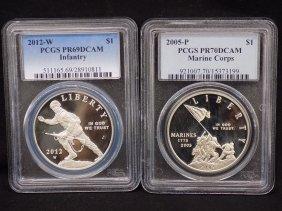 2012w Us Infantry Silver Coin Pr69dcam + 2005p Marine