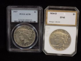 1927 90% Silver Peace Dollar Pcgs Au50 + 1934d 90%