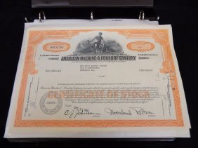 Album Containing Various Vintage Stock Certificates