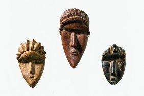 """Three Miniature Masks """"geh Naw"""" - Liberia, Bassa"""