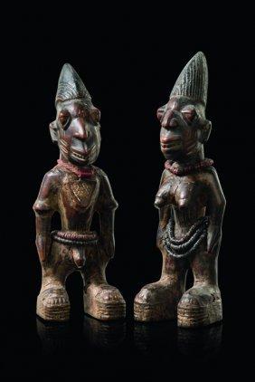 """Pair Of Twin Figures """"ere Ibeji"""" - Nigeria, Yoruba,"""