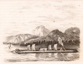 Raft On Champlain Lake. Usa. 1836.