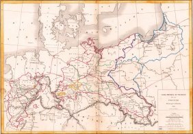 Map Of Prussia. Europe. 1854.