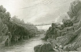 Grass Rope Bridge At Teree Gurwall. India. 1831.