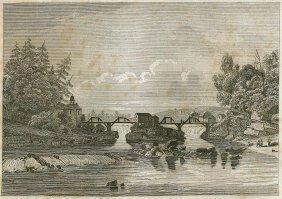 Hudson Fall At The Village Of Gleens. Usa. 1829.
