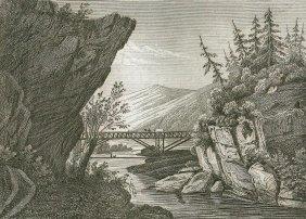 Bridge Over The Hudson At Lucerne. Usa. ~1843.