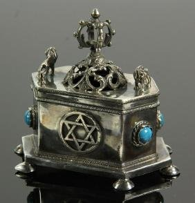 Russian Judaica Silver Trinket Box