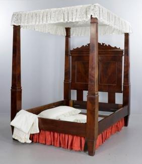 19th C. Classical Empire Mahogany Tester Bed