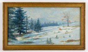 Randolph Brown, Winter Scene, Watercolor