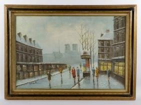 Eaton, Paris Street View, Oil On Canvas