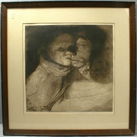 KATHE KOLLWITZ, MOTHER AND CHILD, ENGRAVING