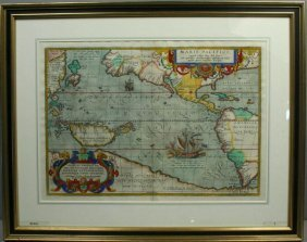 ORTELIUS MAP, MARIS PACIFICI, HC ENGRAVING,1598