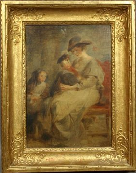 19/20th C. PORTRAIT OF MOTHER AND CHILDREN, O/P