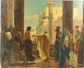 20th C., Greek Classical Scene, O/C